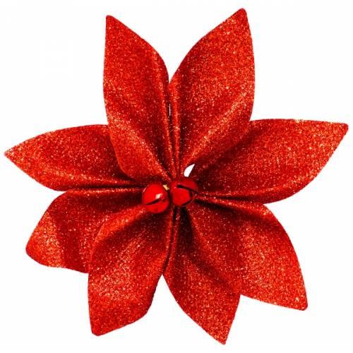 Набір новорічних прикрас 12 см, Квітка, 4 шт компл., текстиль, колір червоний