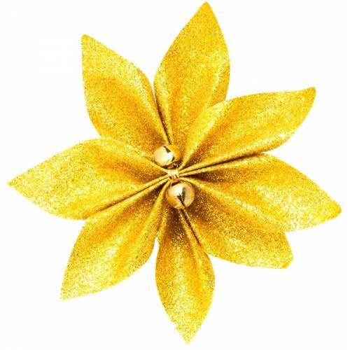 Набір новорічних прикрас 12 см, Квітка, 4 шт компл., текстиль, колір золотий