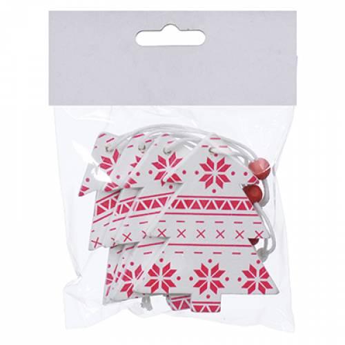 Набір новорічних прикрас 6,5 см, Ялинка, 4 шт, компл., дерево, колір білий з червоним