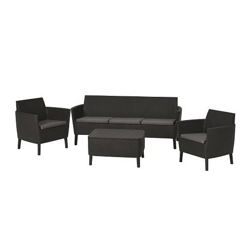 Набор мебели, Salemo 3 seater set, графит - прохладный серый