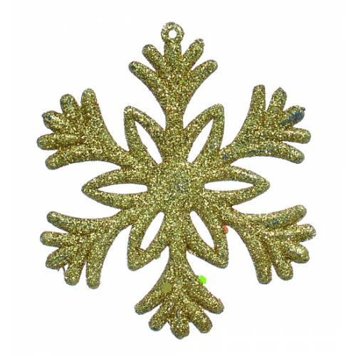 """Новорічна прикраса """"Сніжинка"""", 10 см., 1 шт., пластик, золотистий"""