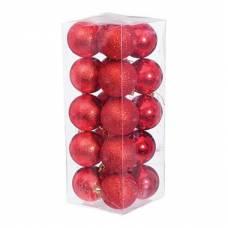 Набор шариков с узором, 20 шт. 6 см. красный