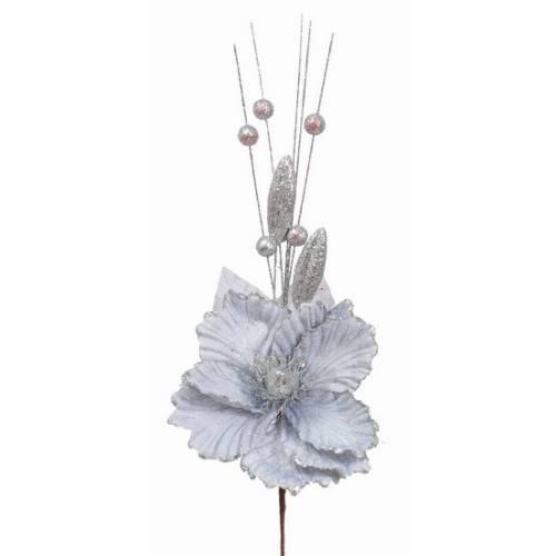 Прикраса декоративна Квітка, 40 см., текстиль, колір сріблястий
