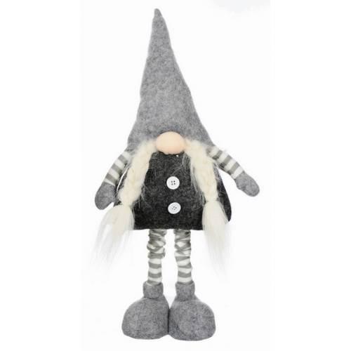 Фігурка новорічна, 75 см, Леприкон, текстильний, колір сірий