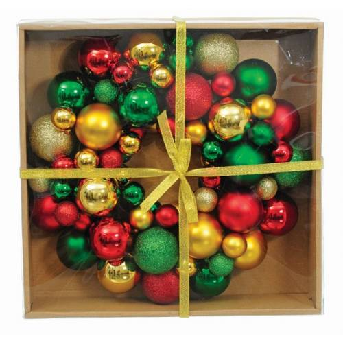 Вінок декоративний, 34 см, із кульок, пластик, мікс кольорів: черв., золот., зелен.