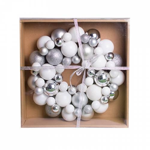 Вінок декоративний, 34 см, із кульок, пластик, мікс кольорів: білий і срібло