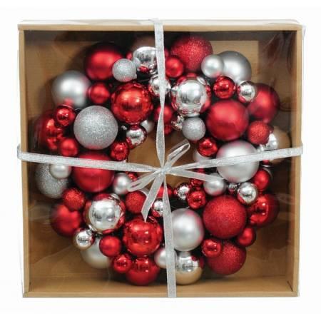 Вінок декоративний, 34 см, із кульок, пластик, мікс кольорів: червоний і срібло