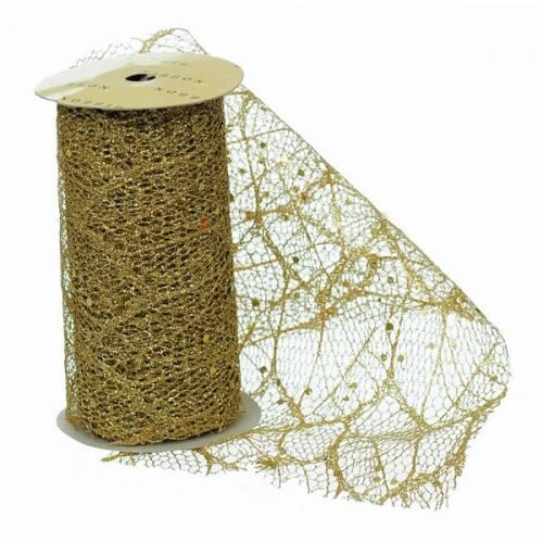 Стрічка декоративна 11,3 см, з золотим візерунком, 3 м., органза