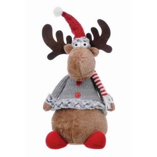 Фігурка новорічна, 50 см, Олень, текстильний, коричневий, червоний