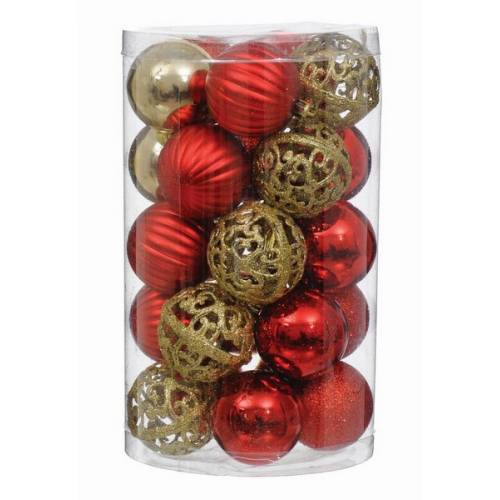 Набір пластикових кульок, 25 шт, 6 см. колір червоний, золотий