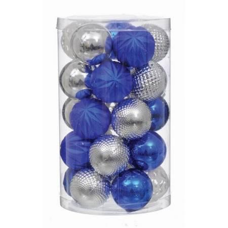 Набір пластикових кульок, 25 шт, 6 см. колір сріблястий, синій