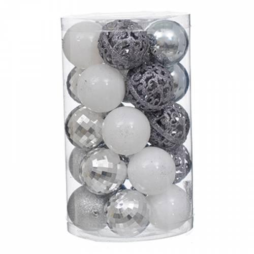 Набір пластикових кульок, 25 шт, 6 см. колір білий, срібний