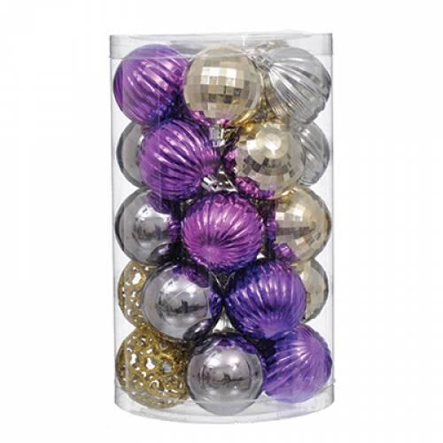 Набір пластикових кульок, 25 шт, 6 см. колір золотий, срібний, фіолетовий