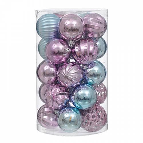 Набір пластикових кульок, 25 шт, 6 см. колір блакитний, бузковий