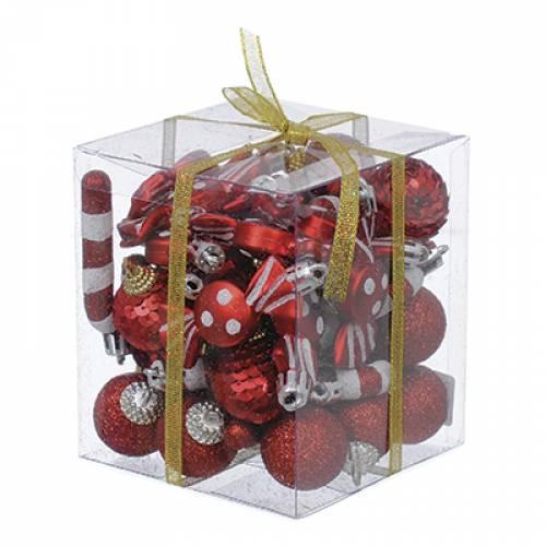 Набір ялинкових прикрас, 40 шт, 3 см, пластик, колір червоний