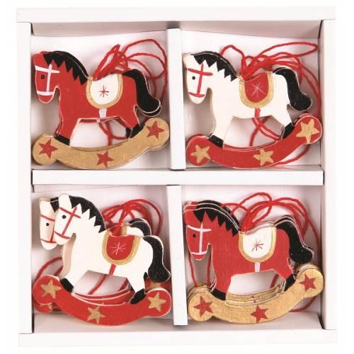 Набір новорічних прикрас, 12 см, Коник, 4 шт в асорт., 12 шт компл., дерево, колір білий з червоним