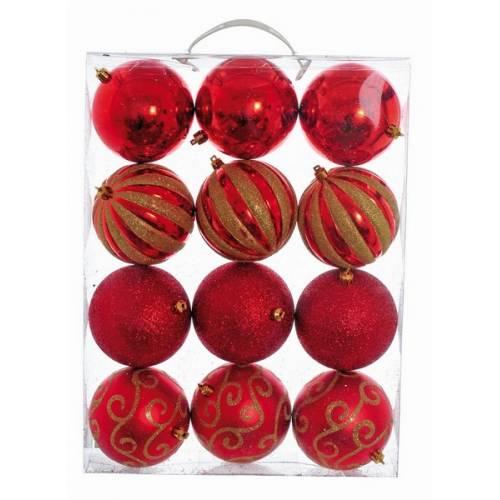 Набір кульок 12 шт, 10 см, пластик, колір червоний