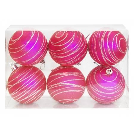 Набір кульок, 6 шт, 7 см, пластик, колір рожевий з візерунком