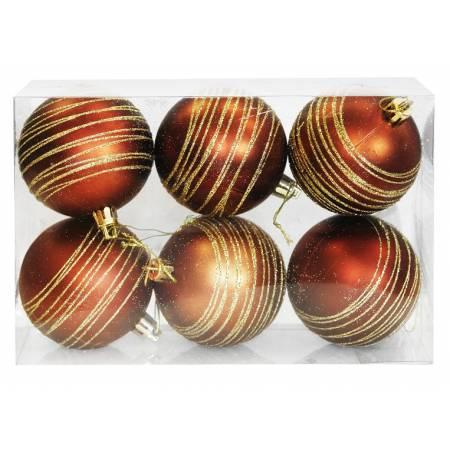 Набір кульок, 6 шт, 7 см, пластик, колір коричневий з візерунком