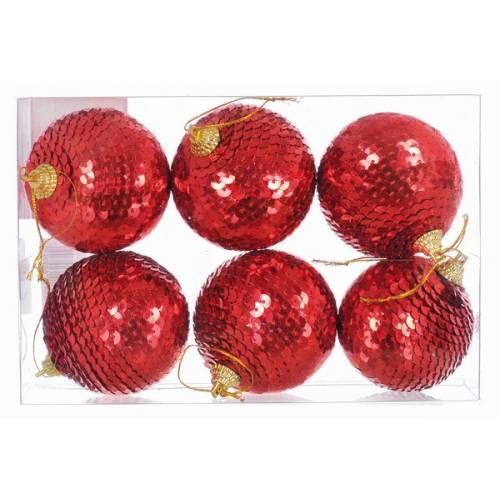Набір пластикових кульок, 6 шт, 6 см, червоні