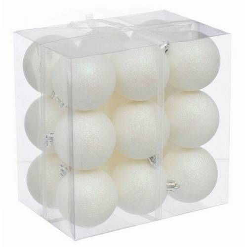 Набір кульок, 18 шт, 6 см, з блискітками, пластик, колір білий