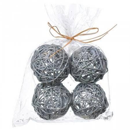 """Набір декоративних прикрас """"Кульки ротангові"""", 4 шт. сірий, Jumi"""