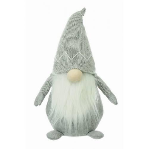 Фігурка новорічна, 40 см, Леприкон, текстильний, колір світло-сірий