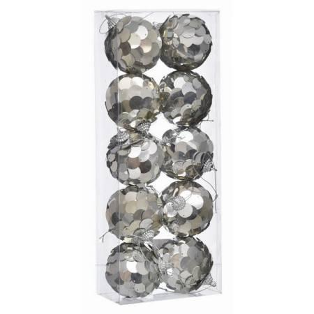 Набір кульок 10 шт, 6 см. пластик, срібні паєтки