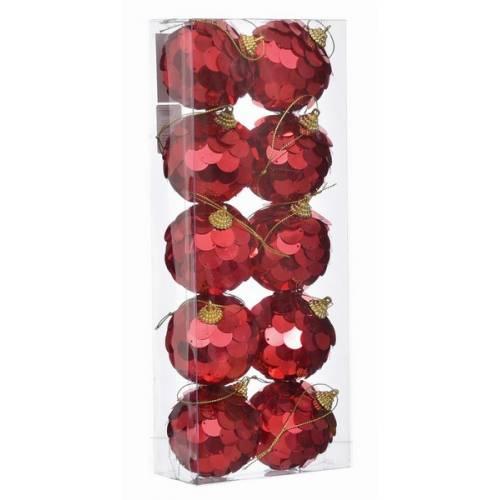 Набір кульок 10 шт, 6 см. пластик, червоні паєтки