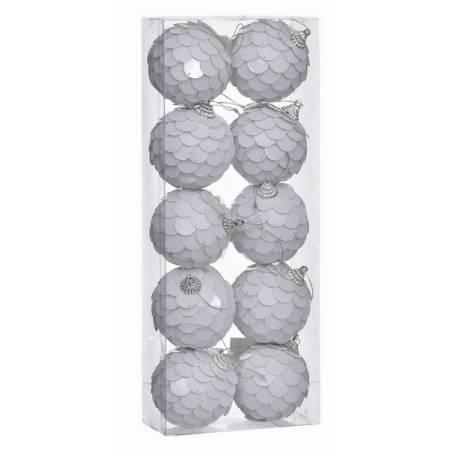 Набір кульок 10 шт, 6 см, пластик, білі паєтки