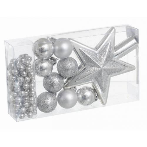 Набір ялинкових прикрас 10 шт, пластик, сріблястий