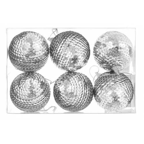 Набір пластикових кульок, 6 шт, 6 см, сріблясті