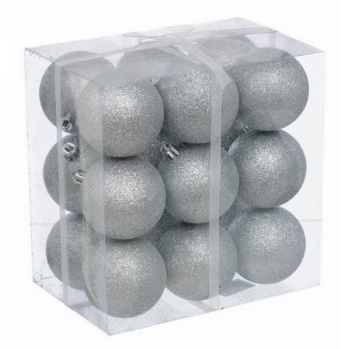 Набір кульок, 18 шт, 6 см, з блискітками, пластик, колір сріблястий