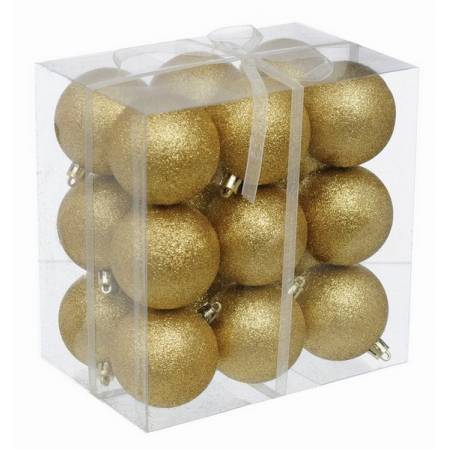 Набір кульок, 18 шт, 6 см, з блискітками, пластик, колір золотий