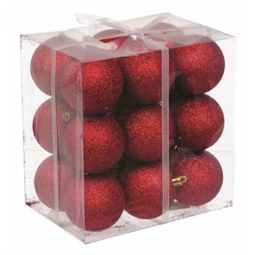 Набір кульок, 18 шт, 6 см, з блискітками, пластик, колір червоний