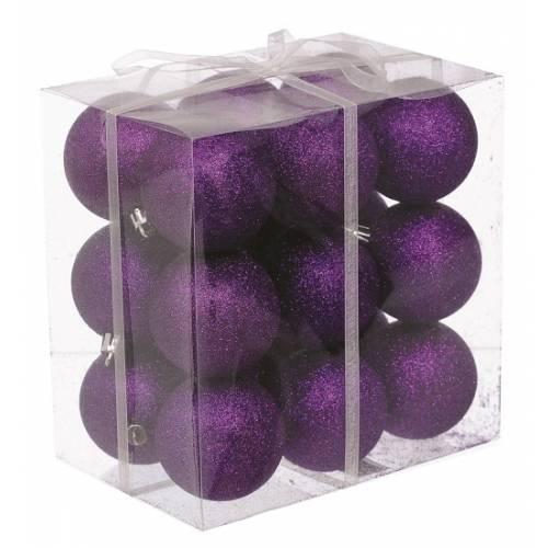 Набір кульок, 18 шт, 6 см, з блискітками, пластик, колір фіолетовий