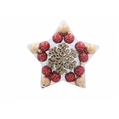 Набір новорічних прикрас у формі зірки, пластик, 25 шт., золотий з червоним