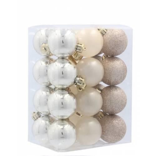Набір пластикових кульок, 24 шт, 3,5 см., колір золотистий