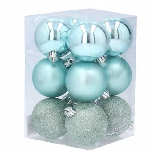 Набір пластикових кульок, 12 шт., 5,5 см., колір бірюзовий
