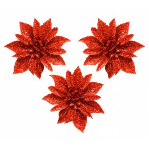 """Набір прикрас на прищіпці """"Квітка"""", 3 шт,. 8,5 см., червона"""