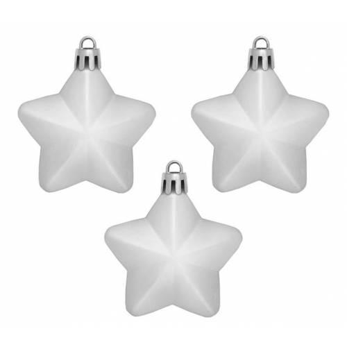 """Ялинкові пластикові прикраси """"Зірка"""", 3 шт., 6 см., колір сріблястий"""