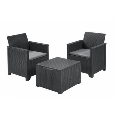 Набір меблів Emma balcony set, стіл-скриня, сірий