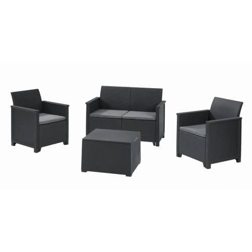 Набір меблів Emma 2 seater set, стіл-скриня, сірий