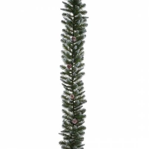 Гірлянда 270 см. декоративна Empress зелена з інеєм і шишками, Triumph Tree