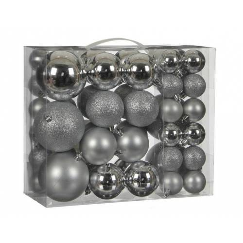 """Ялинкові кульки 46 шт, """"House of Seasons"""" пластик, колір срібло"""