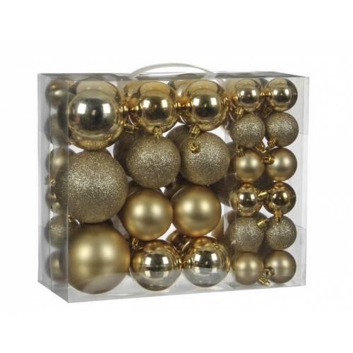 """Ялинкові кульки 46 шт, """"House of Seasons"""" пластик, колір золотий"""
