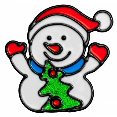 """Наклейка новорічна для вікон, діам. 10 см в ас. """"House of Seasons"""" Сніговик"""