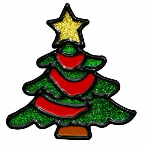 """Наклейка новорічна для вікон, діам. 10 см в ас-ті """"House of Seasons"""" Ялинка"""