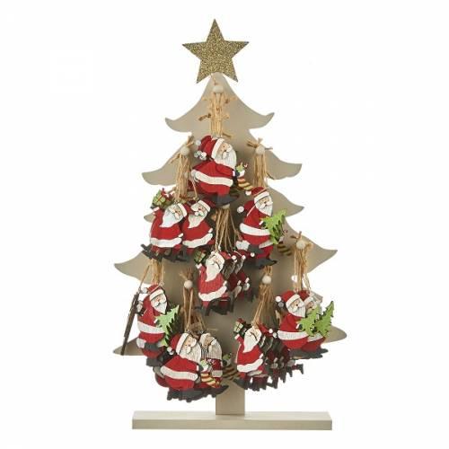 Прикраса декоративна, 10 см., Підвісна дерев'яна Ялина, Санта в ас., House of Seasons