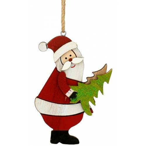 Декоративна підвіска, 10 см, Санта з ялинкою, дерев'яна, House of Seasons